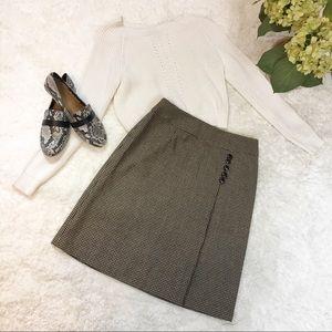 Talbots Herringbone Blk+Tan Mid-length Skirt Sz 8